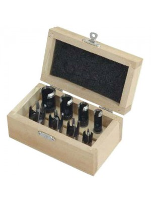 8 Piece Fully Polished Wood Plug Cutting Set - 9.5mm Shanks
