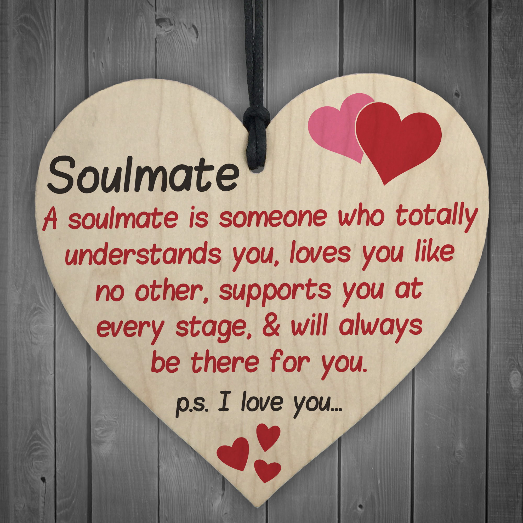 soulmate i love you hanging wooden heart valentines day gift husband wife sign ebay. Black Bedroom Furniture Sets. Home Design Ideas