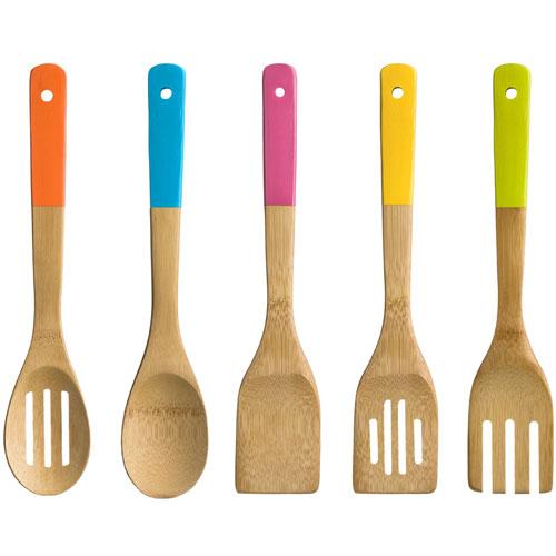 5 piece wooden bamboo kitchen utensil set bright coloured for Wooden kitchen utensils