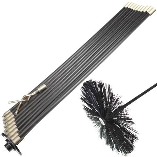 13 pc rod set for drain chimney flue sweep sweeping brush. Black Bedroom Furniture Sets. Home Design Ideas