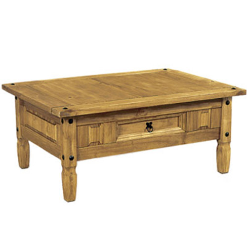 New Corona Mexican Coffee Table With Draw Chunky Pine Hand Waxed Finnish Quality Ebay