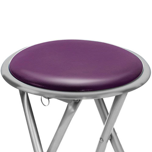 brand new round silver frame folding padded stool seat chair purple