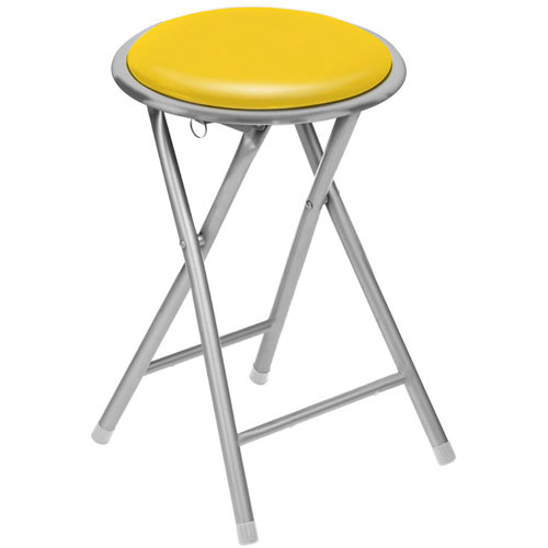 brand new round silver frame folding padded stool seat chair yellow