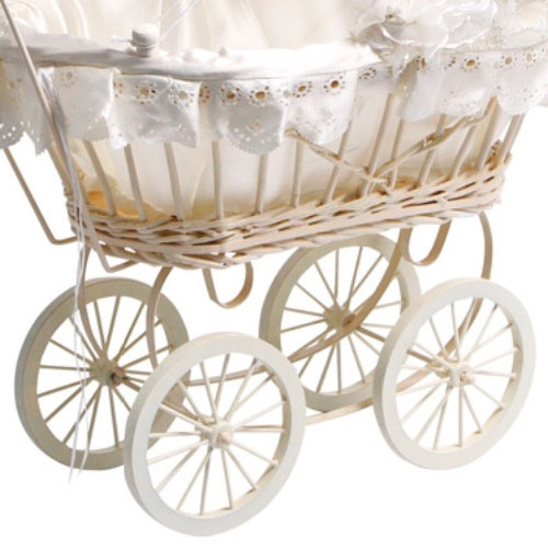 Kids Classic Antique Wicker White Lace Dolls Pram Pushchair