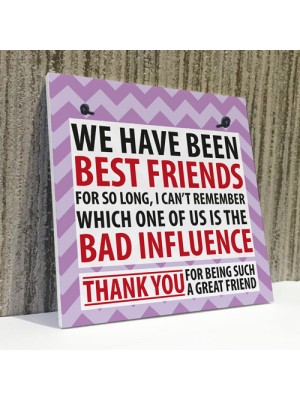 Best Friend Bad Influence Family Friendship Gift Hanging Plaque