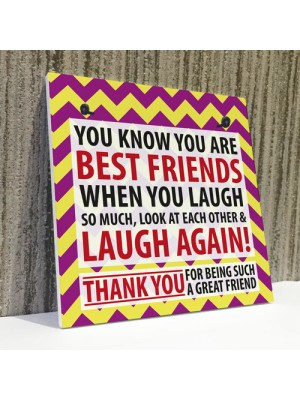 Best Friends Laugh Friendship Christmas Home Gift Hanging Plaque