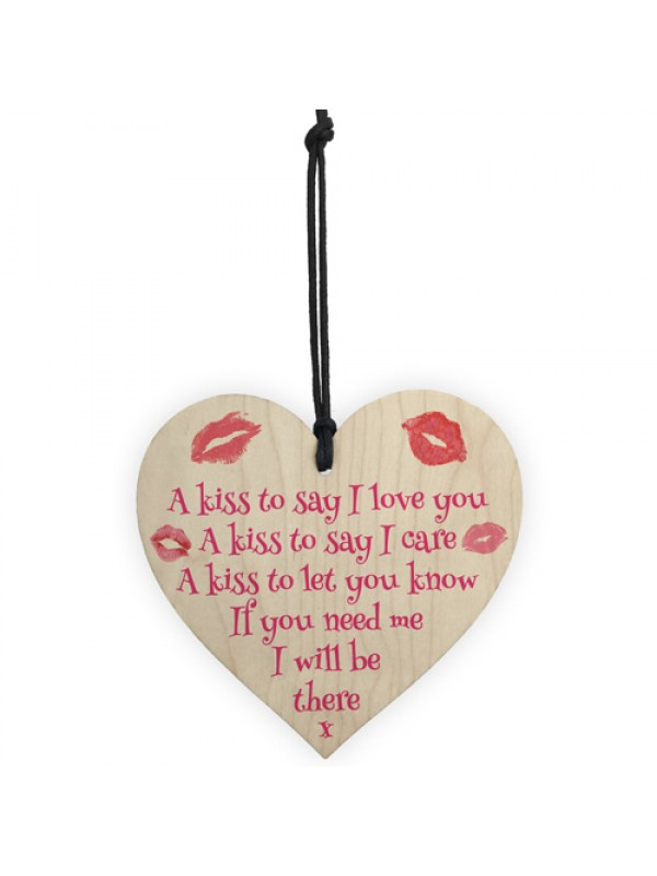 A Kiss To Say I Love You Wooden Heart Hanging Sign Gift Wedding