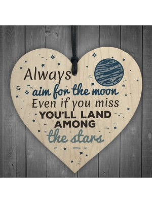 Always Aim For The Moon Wooden Hanging Heart Fun Birthday Gifts