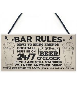 Bar Rules Still Standing Alcohol Beer Pub Plaque Funny Man Cave