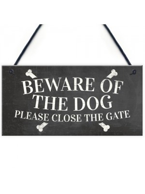 Beware Of The Dog Warning Sign Garden Gate Hanging Plaque Gift