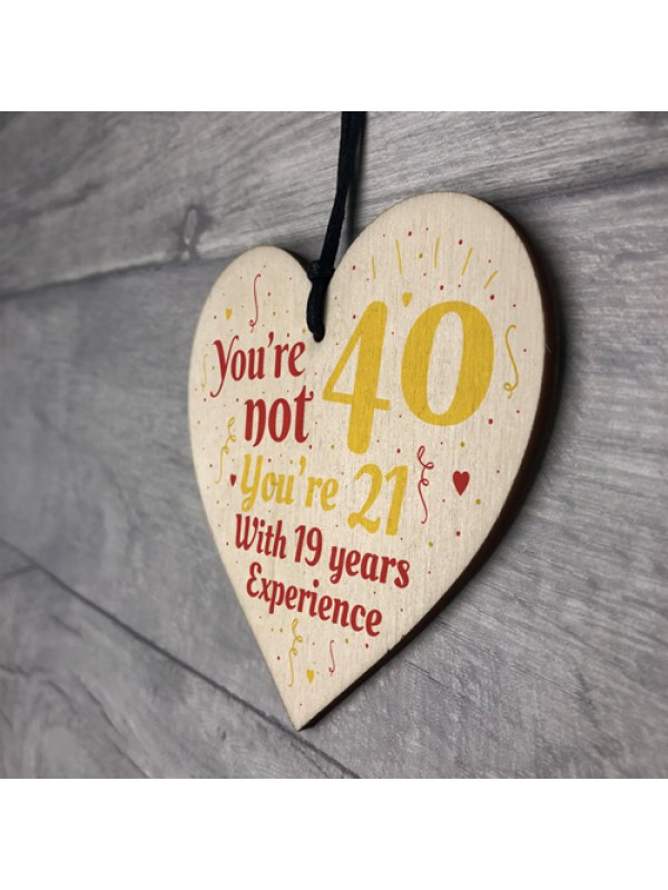 40th Birthday Gift Wooden Heart Sign Gift For Friend Dad Family