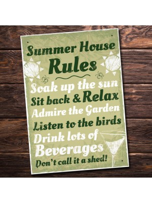 Summer House Rules Hanging Wall Plaque Garden Shed Sign Gift