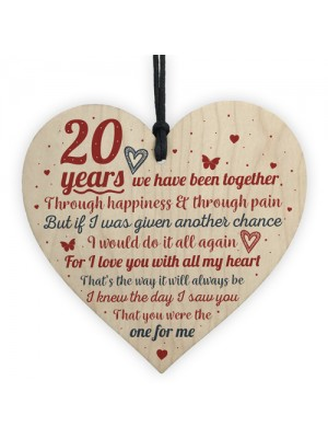 Anniversary 20th Wedding Engagement Wood Heart Plaque Gifts