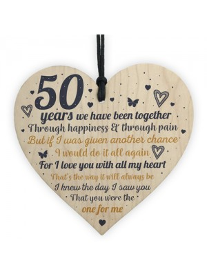 Anniversary 50th Wedding Engagement Wood Heart Plaque Gifts