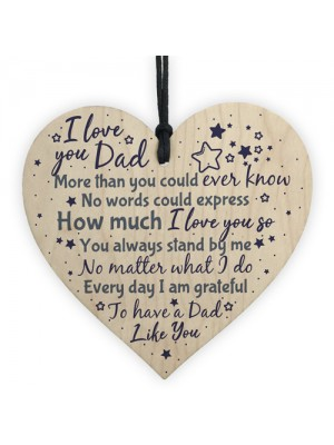 Love You DAD Daddy Wooden Heart Plaque Birthday Christmas Gift
