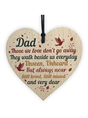 DAD Memorial Plaques Wood Heart Christmas Tree Bauble Ornament