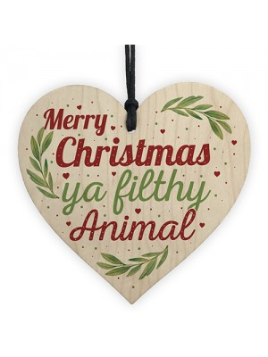 Christmas Filthy Animal Novelty Tree Decoration Wooden Bauble