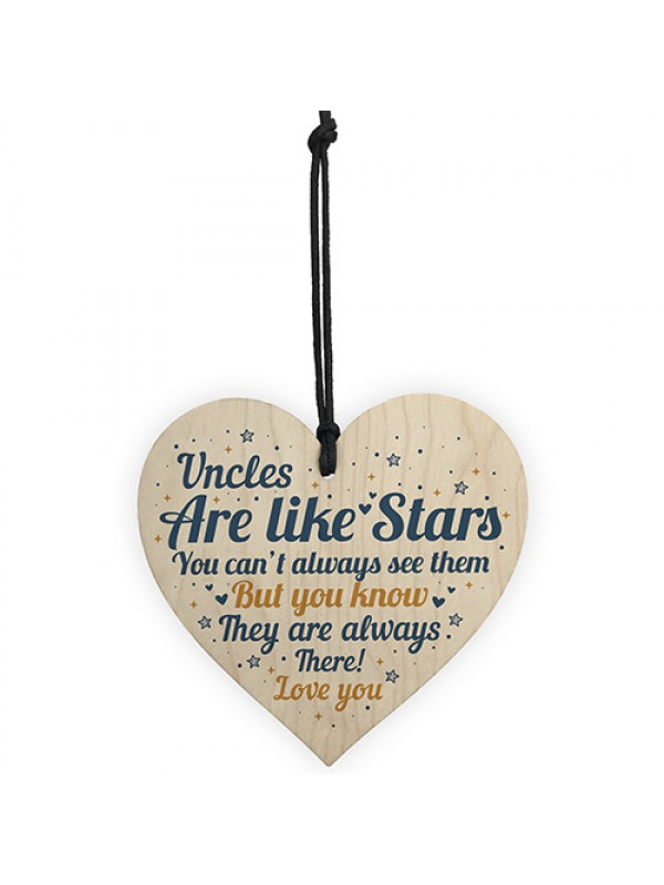 Special Uncle Friend Gift For Birthday Christmas Wood Heart Gift