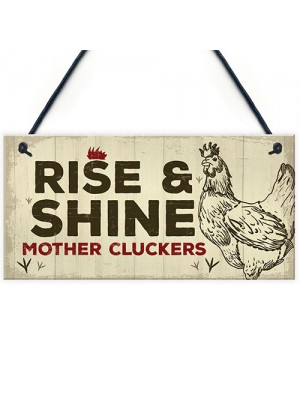 Novelty Chicken Rooster Sign Funny Chicken Coop Hen House Plaque