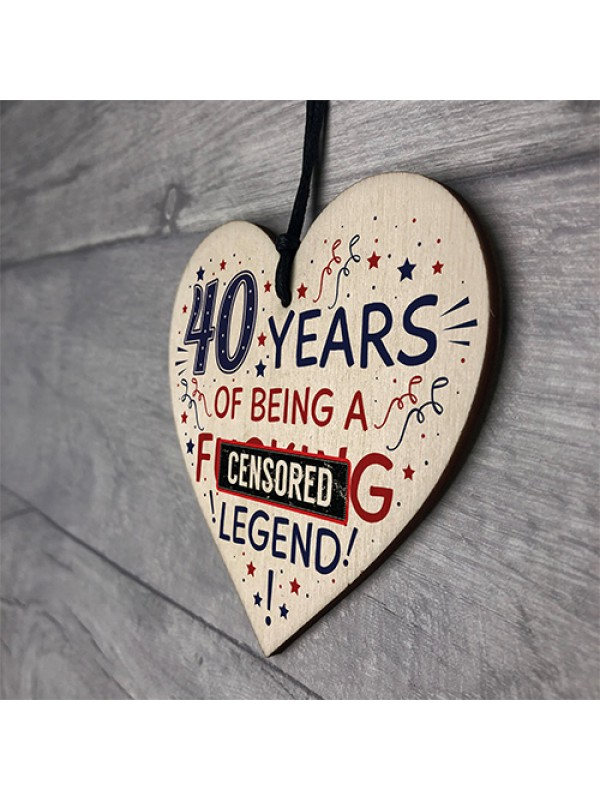 40th Birthday Gifts For Women Men Friend Wood Heart Decorations