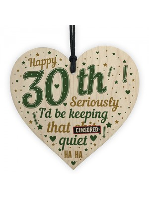 30th Birthday Gifts Best Friend Brother Wood Heart 30th Birthday