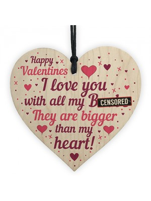 FUNNY Valentines Gift For Him Wood Heart Valentines Gift For Him