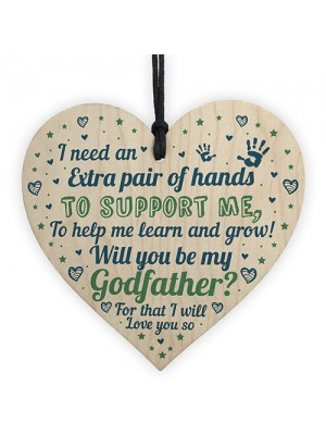 Will You Be My Godfather Wooden Heart Godparent Asking Gifts