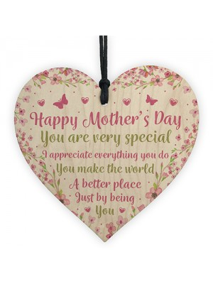 Mothers Day Gifts For Mum Mummy Wooden Heart Plaque Gifts