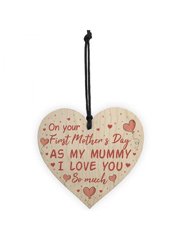 First Mothers Day Wood Heart Gift Mum Mummy To Be Gifts