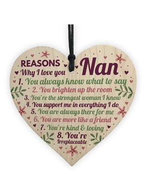 Why I Love You Nan Gifts Wooden Heart Nan Cards From Grandson