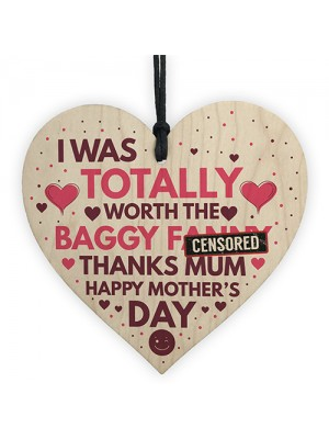 Funny Mothers Day Rude Gift For Mum Wooden Heart Gifts