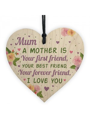 Mothers Day Gift Wood Heart Mum Birthday Card Best Friend Gift