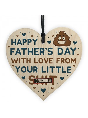 Funny Fathers Day Gift For Dad Daddy Step Dad Wooden Heart