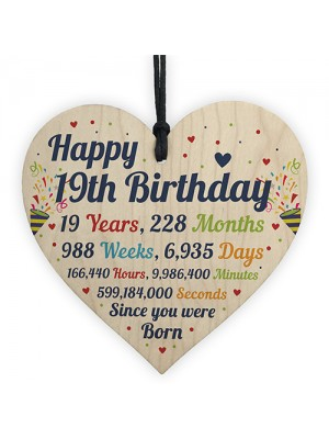 19th Birthday Gifts 19th Card Wood Heart Gift For Daughter Son