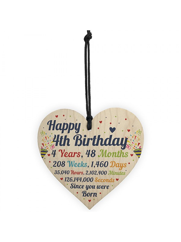 4th Birthday Gifts 4th Birthday Wood Heart Gift For Baby Child