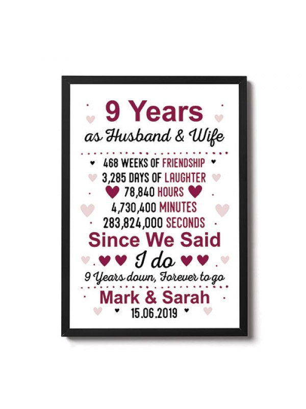 9th Anniversary Gift Personalised Framed Print 9th Anniversary