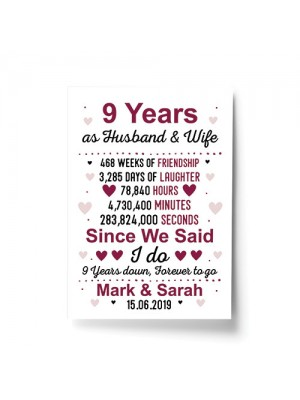 9th Anniversary Gift Personalised Print 9th Anniversary Card