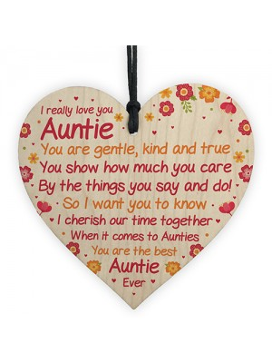Auntie Birthday Gifts From Niece And Nephew Wood Heart Xmas Gift