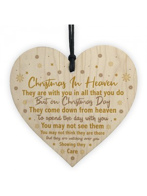 Christmas In Heaven Xmas Tree Decoration Memorial Quote Heart