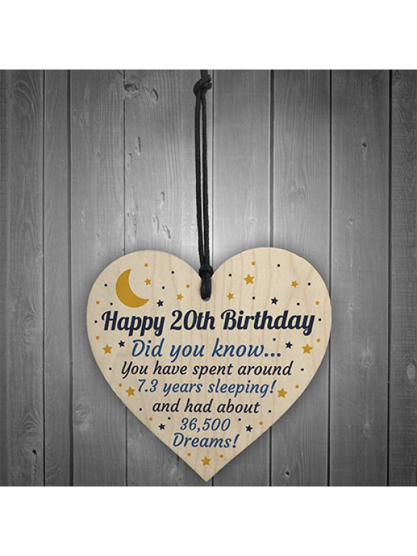 20th Birthday Card For Daughter Son Wood Heart Novelty 20th Gift
