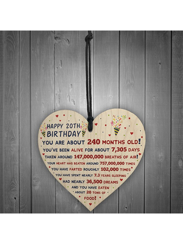 20th Birthday Gift For Daughter Son 20th Birthday Facts Heart