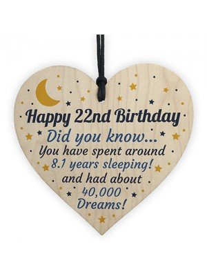 22nd Birthday Card For Daughter Son Wood Heart Novelty 22nd Gift