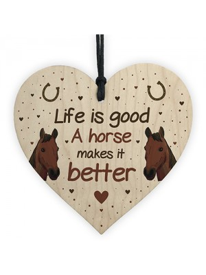 Funny Horse Gifts For Women Wood Heart Sign Horse Gift For Girls