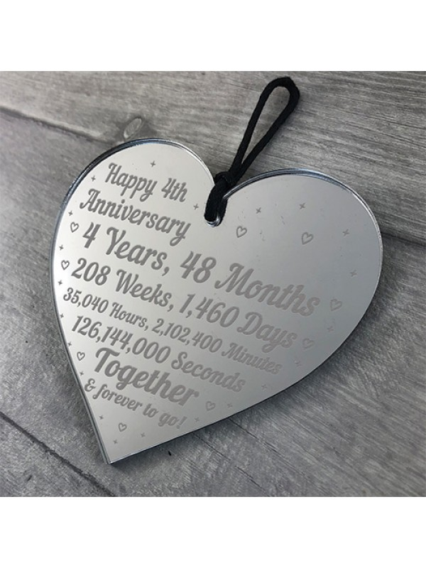 4th Anniversary Gift For Him Her 4th Wedding Anniversary Heart