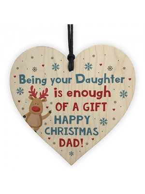 Funny Christmas Gift For Dad From Daughter Wooden Heart Novelty