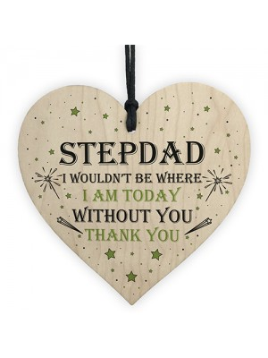 Novelty Step Dad Gift Wood Heart Thankyou Gift From Daughter Son