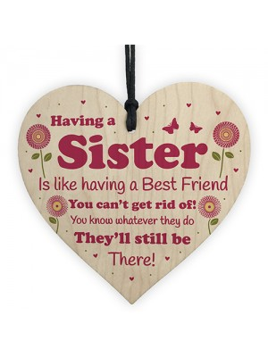 Funny Sister Gift Wooden Hanging Heart Quirky Sister Gift