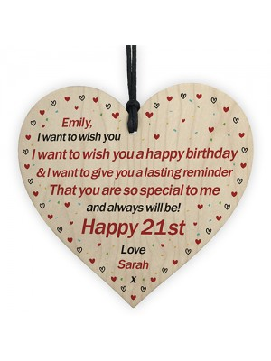 21st Birthday Gift For Daughter Son Personalised Wood Heart