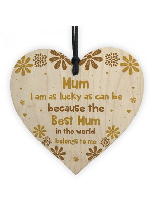 Novelty Gift For Mum Birthday Wood Heart Thank You Gift For Her