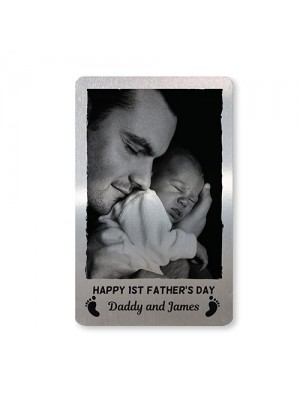 1st Fathers Day Gift Personalised Metal Card New Baby Boy Girl